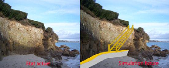 Photo1 : prise de vue du haut de l'escalier dit du sémaphore vers le Cap Coz