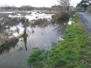 Zone inondée près de Penfalut le 10 mars 2010
