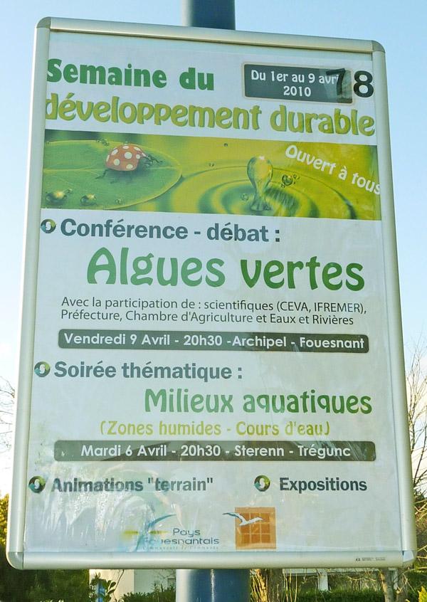 Annonce d'une conférence sur les algues vertes à l'Archipel