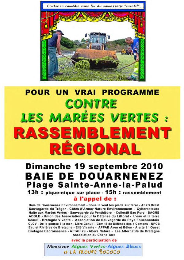 Affiche : contre les marées vertes - rassemblement régional