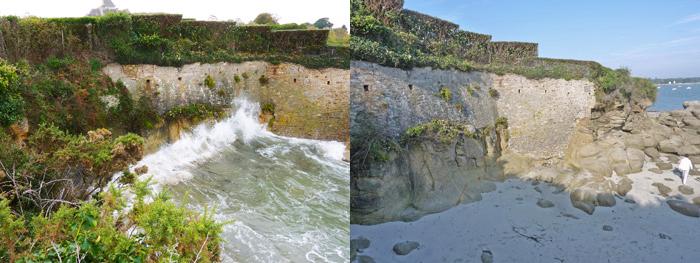 La Falaise 'Lascar' par grande marée haute et à marée basse