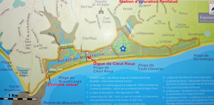 Vue générale du marais de Mousterlin avec les digues, l'exutoire et la station de Penfalud