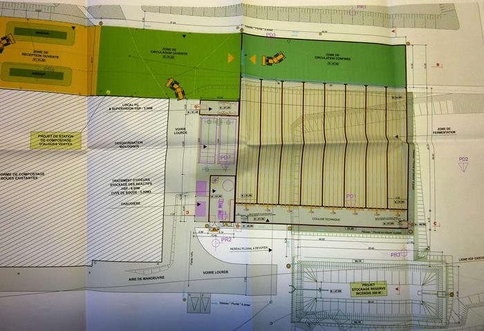 le plan de la nouvelle organisation avec les 8 tunnels de fermentation maitrisée
