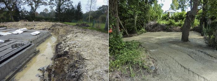 Photo 12 gauche : Zone humide remblayée pour construire à Gouesnac'h. Photo 13 : Zone humide remblayée pour vendre, accéder et construire sur un terrain inaccessible  dans la descente de Bellevue à Fouesnant.
