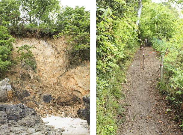 le sentier côtier s'est effondré - accès interdit