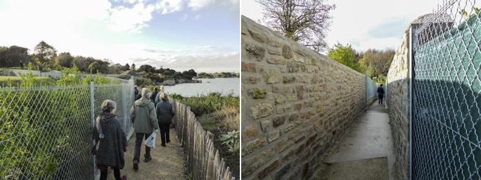 mer à droite, grillage et poste de surveillance occupé au fond à gauche. le voilà, ce fameux mur Lascar, mais elle est où la mer ?